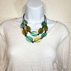 Tagua Boho Disc Necklace- Teal & Gold
